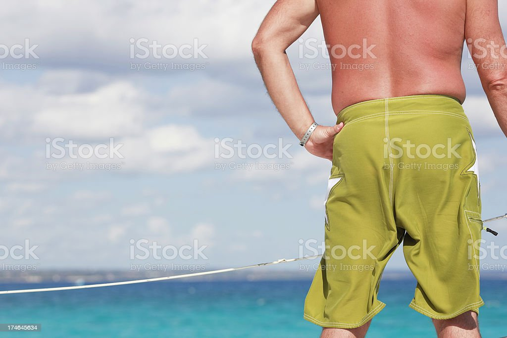 man looking overdeck royalty-free stock photo