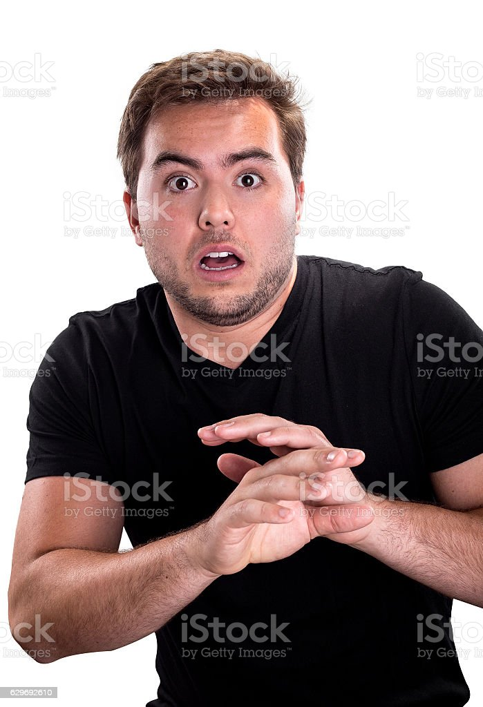 Man Looking Scared on a White Background stock photo
