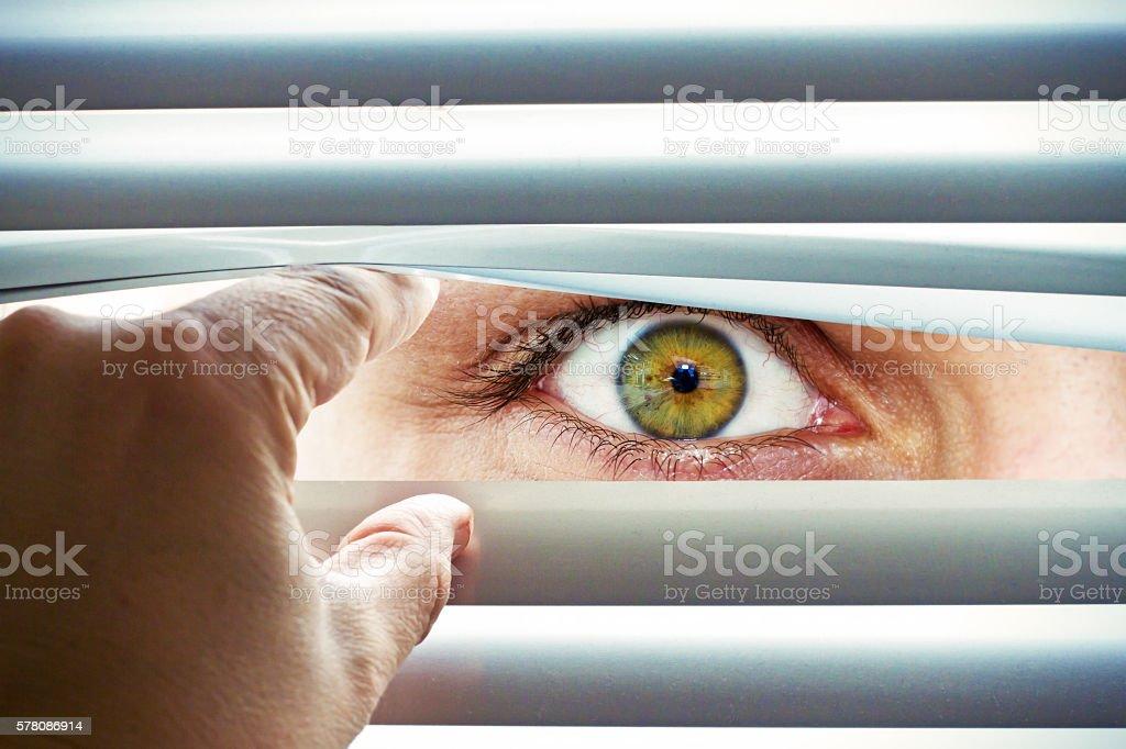 Man looking  through a jalousie stock photo