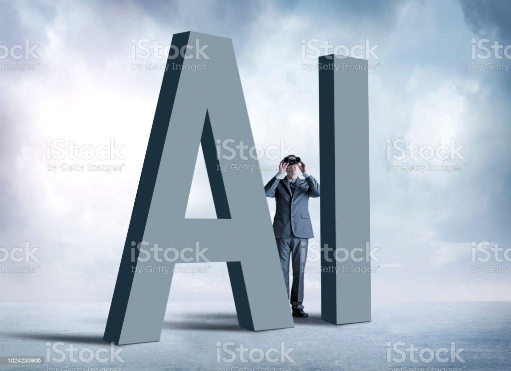 Man Looking Through Binoculars Hides Behind 'AI' Letters stock photo