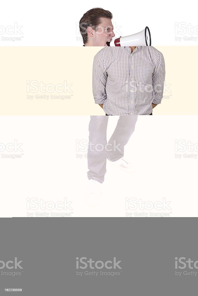 Man looking through hands royalty-free stock photo