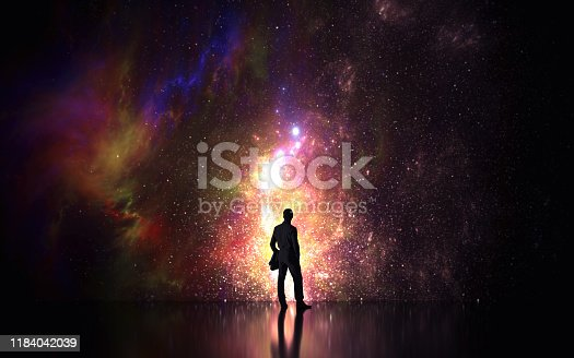 man looking to the future - 3d illustration - rendering (3d model)