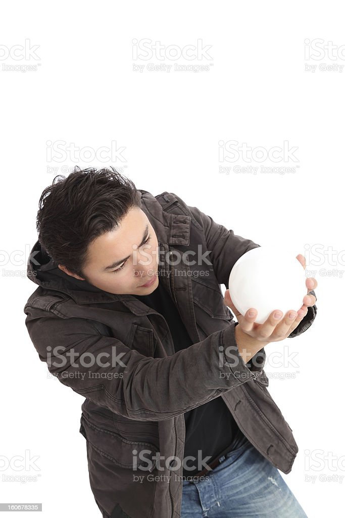 Man looking up into a glass ball royalty-free stock photo