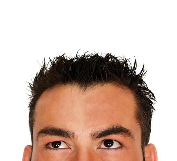 Mann, Blick nach oben, isoliert (mittelblau – Foto