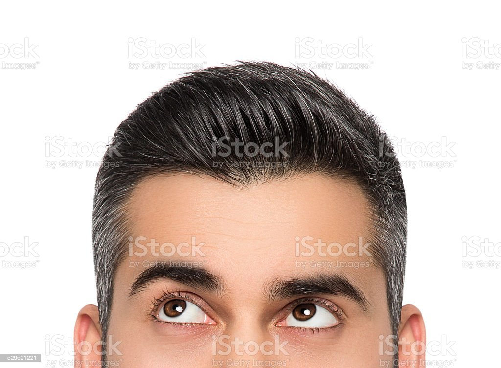 Man looking up isolated stock photo