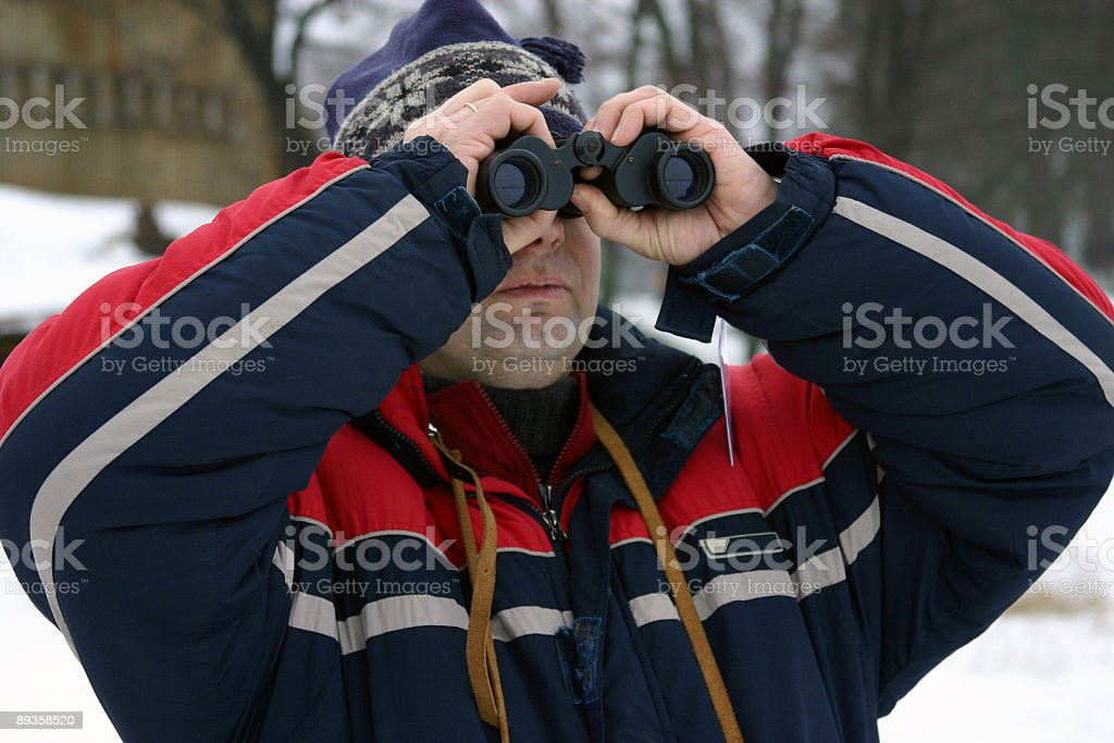 男性、双眼鏡 ロイヤリティフリーストックフォト