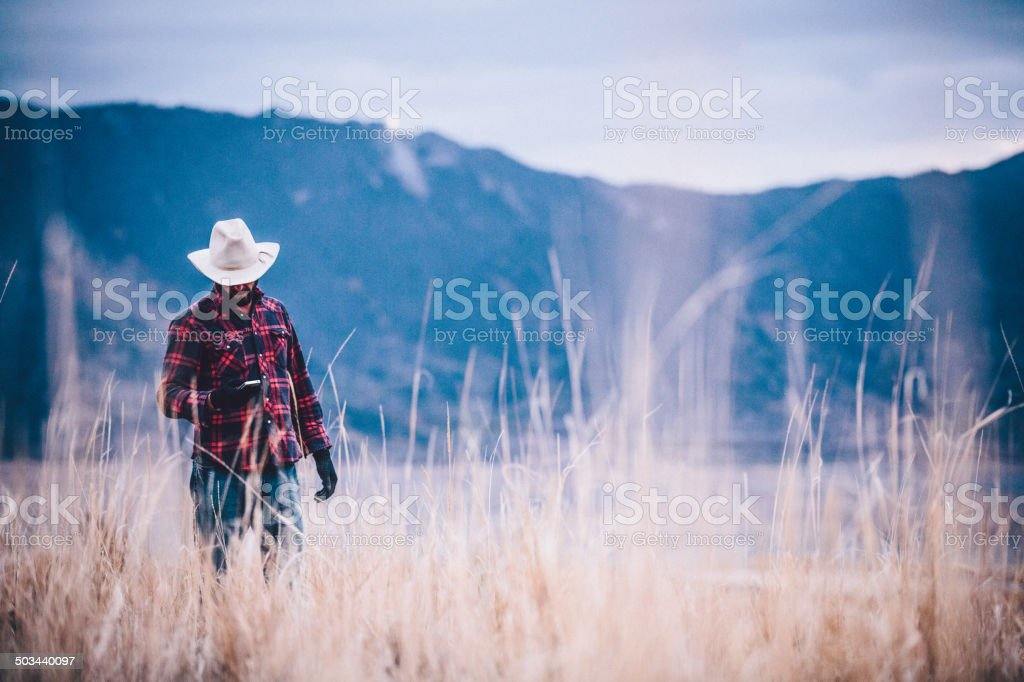 Man looks at phone while walking through field near mountains stock photo