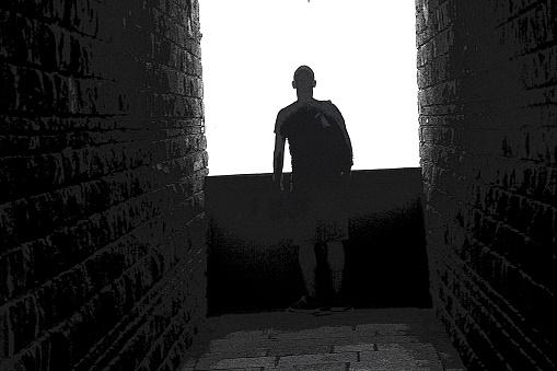 man looks at the light