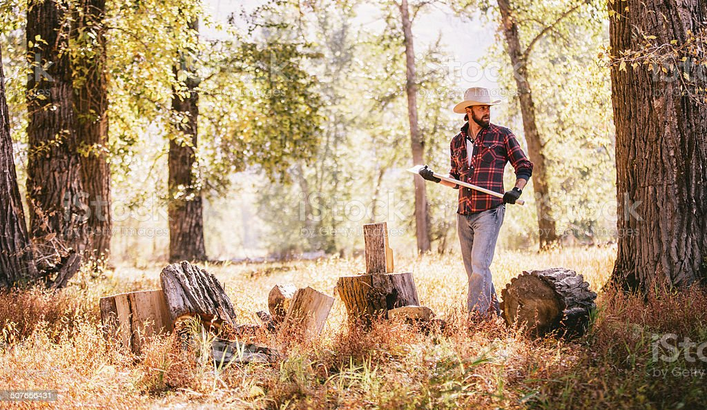 Man looks away while resting from chopping firewood in forest stock photo