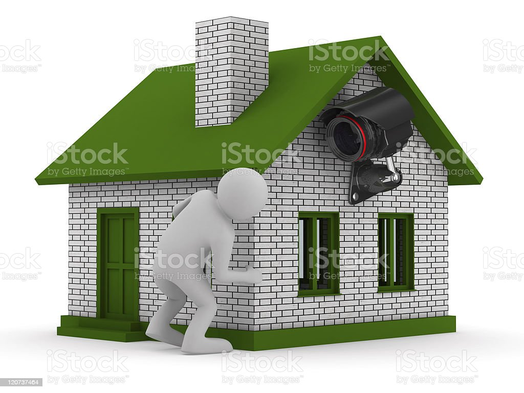 man looks out of corner. 3D image stock photo