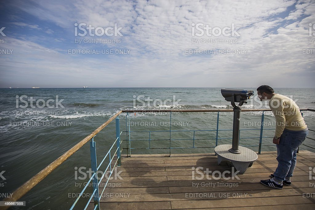 Man looks over oecan royalty-free stock photo