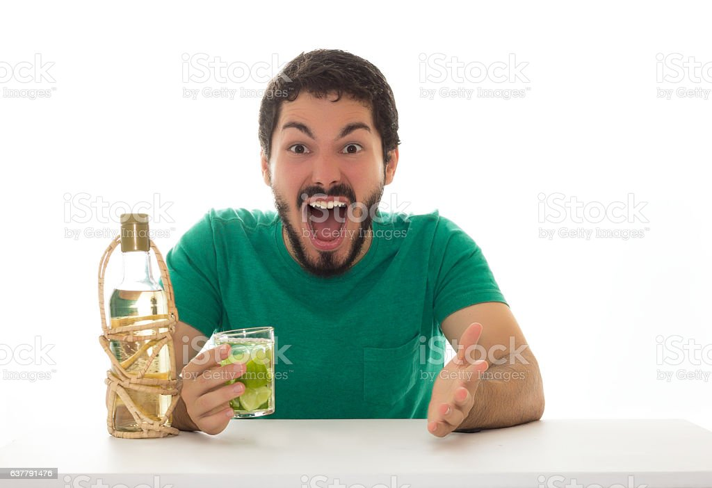 Man looks surprised at bar table. stock photo