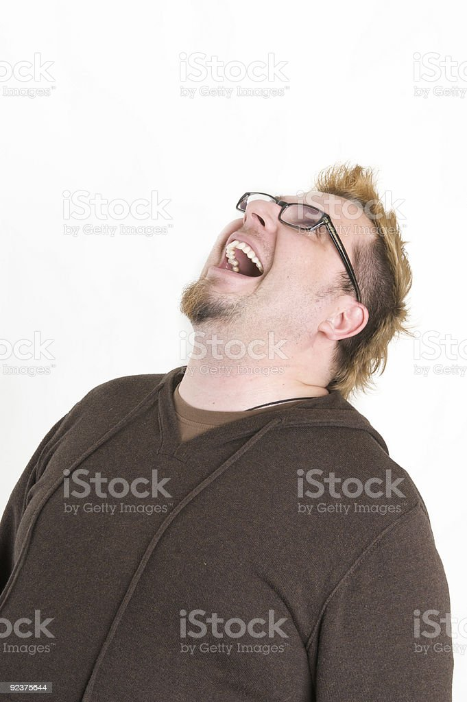man looks up and laughs royalty-free stock photo