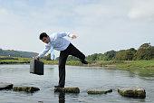 Man losing his balance on a rock near a pond
