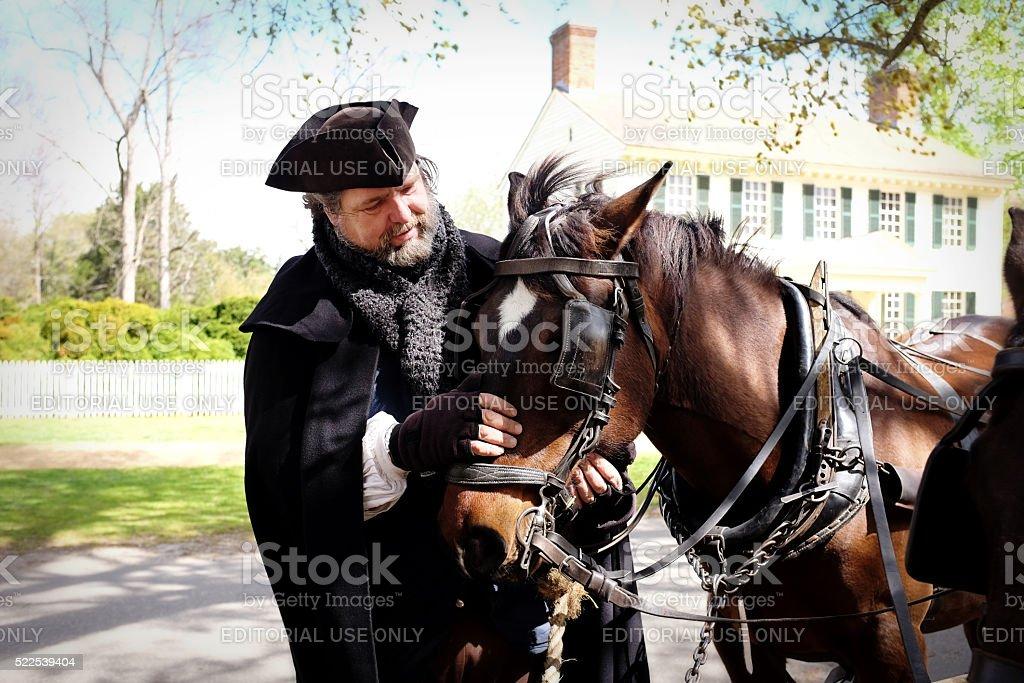 Man loving Horse Team. stock photo