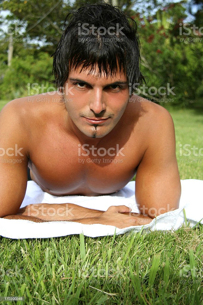 Man Lying on the Grass royalty-free stock photo