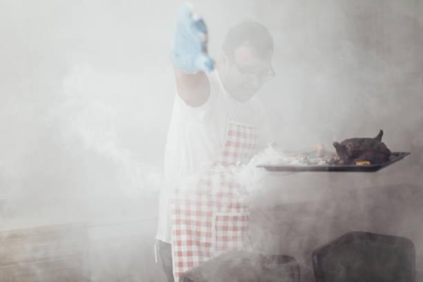 man made dinner - burned cooking imagens e fotografias de stock