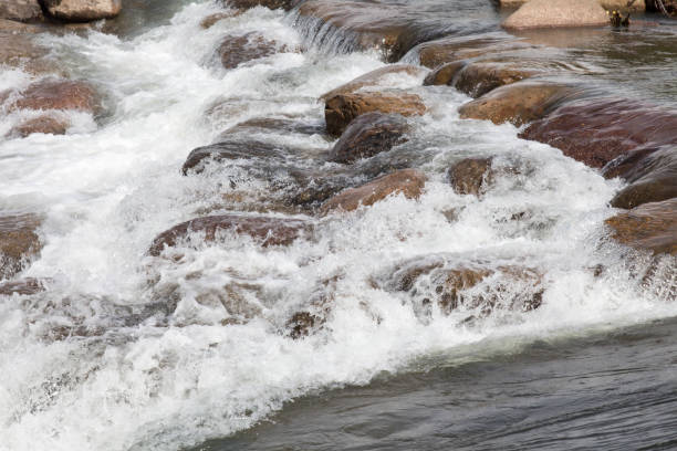 Man made rapids at the Whitewater park in Durango, Colorado Durango whitewater park on the Animas river animas river stock pictures, royalty-free photos & images