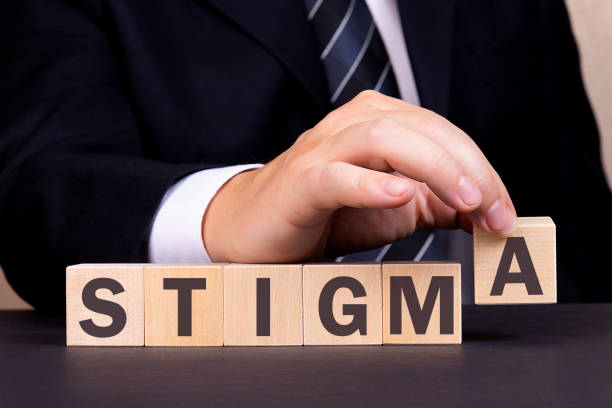 Man made word STIGMA with wood blocks stock photo