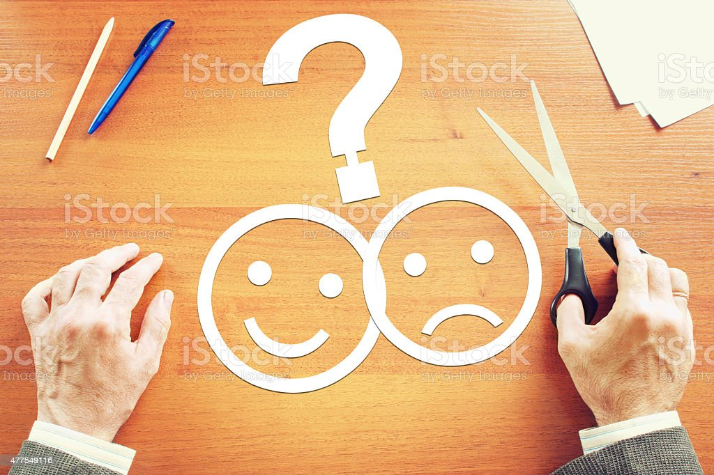 Man makes choice between negative and positive emotions. Abstract...