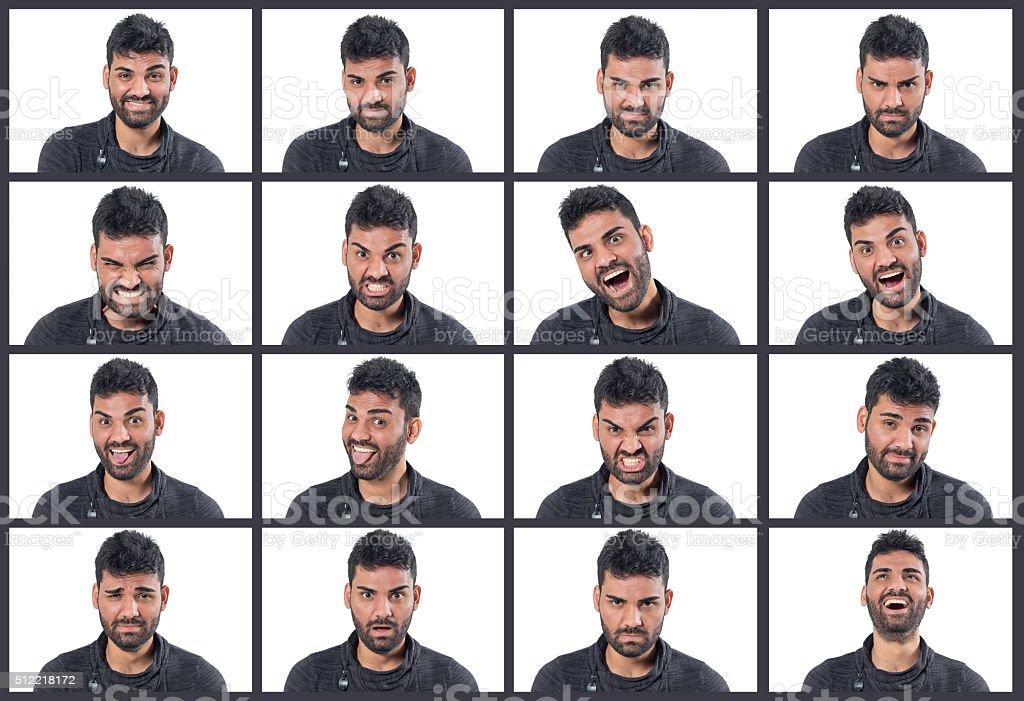 Man making 16 facial expressions stock photo