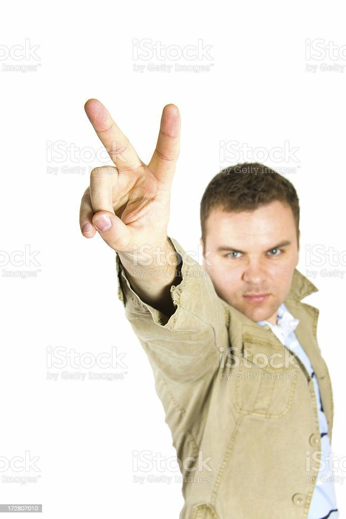 Man making a peace sign royalty-free stock photo