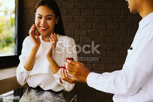 istock Man making a proposal to his girlfriend. 845570470