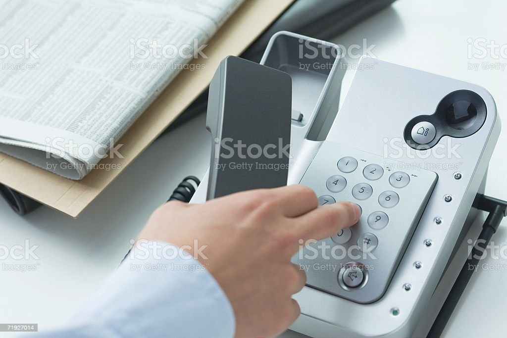 Man making a telephone call stock photo