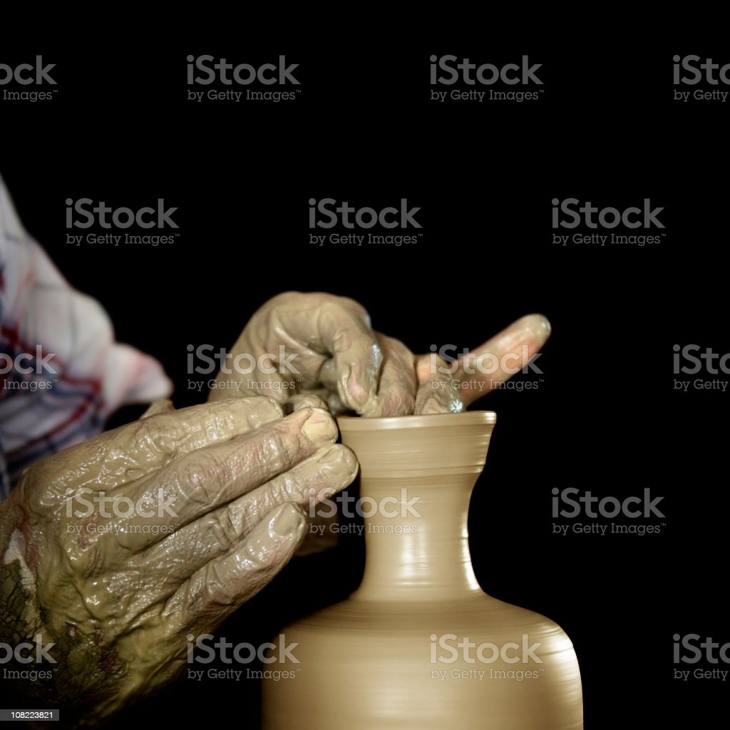 Man making clay pot royalty-free stock photo