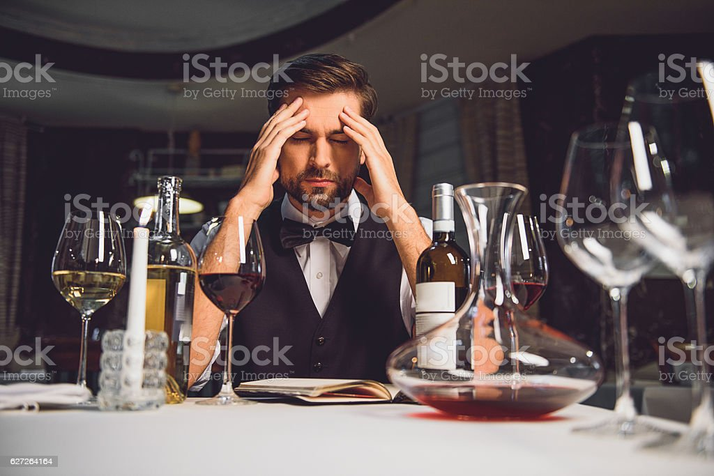 Man making decision about nectar stock photo
