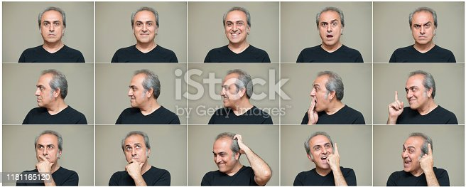 man making nine different facial expressions. High resolution image. All the pictures developed from Raw.