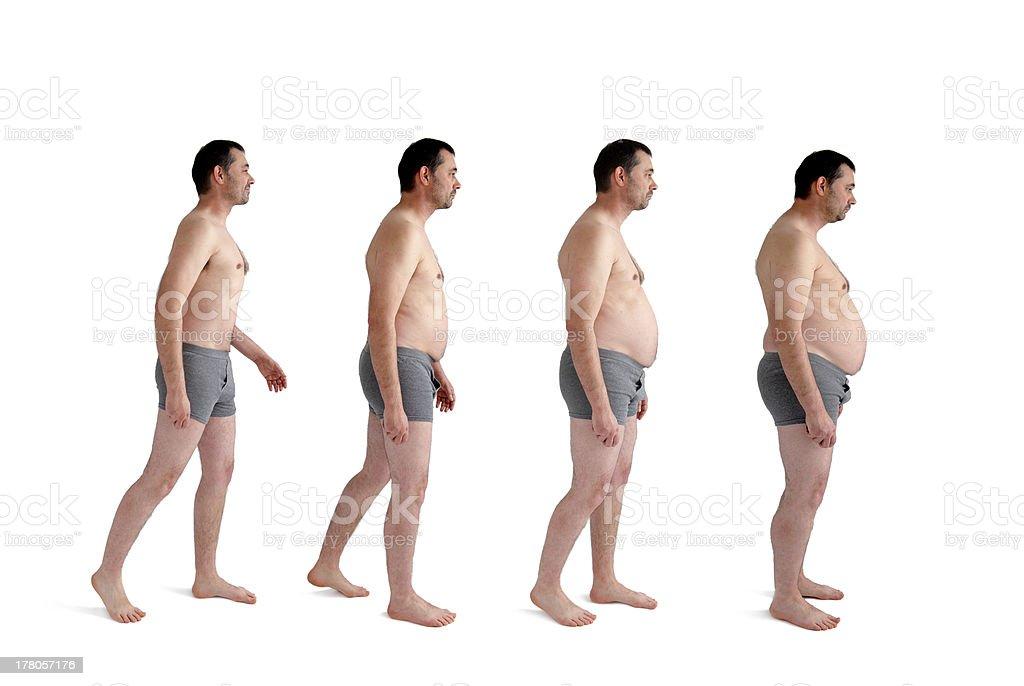 man making incremental weight gain stock photo