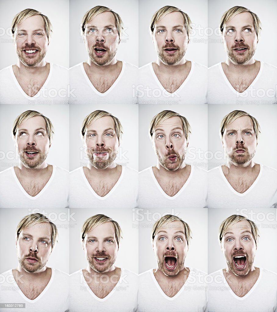 Man making many expressions royalty-free stock photo