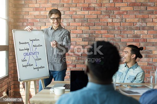 842214626 istock photo Man making presentation for colleagues in creative agency 1083698128