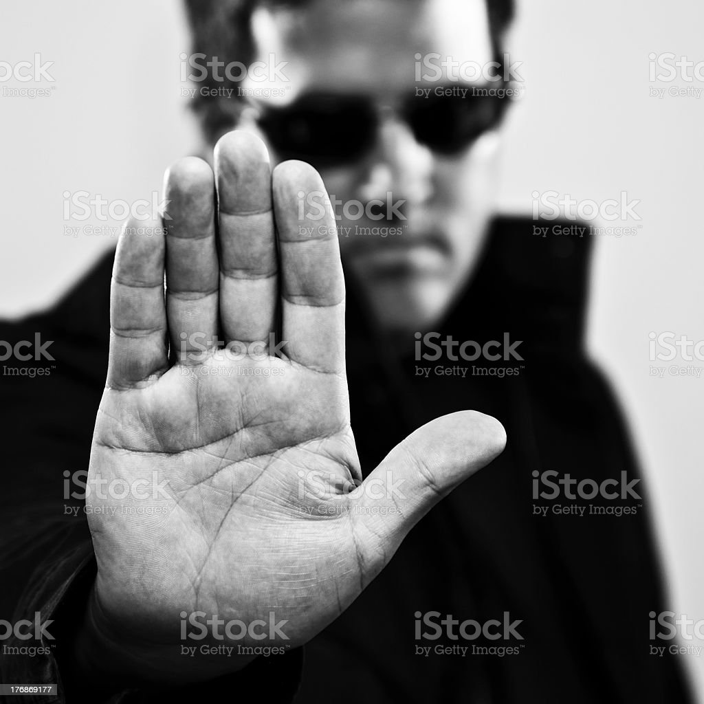 Man making stop gesture royalty-free stock photo