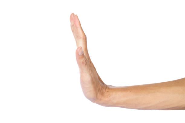 el hombre que hace detener el gesto con la mano aislada sobre fondo blanco con trazado de recorte. - stop sign fotografías e imágenes de stock