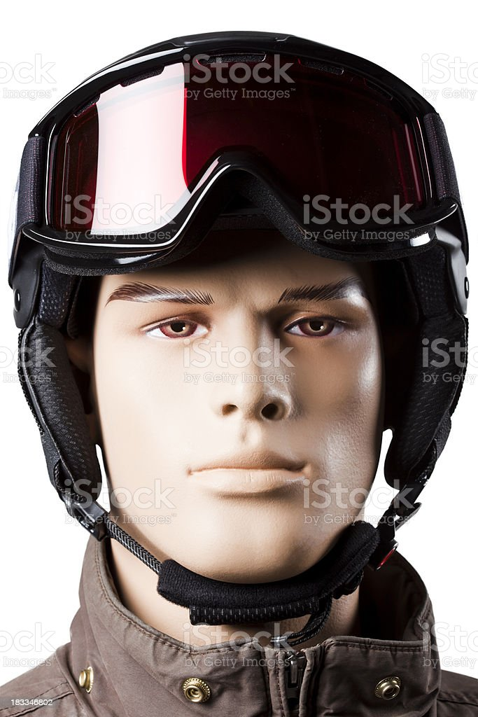 Man mannequin skier with sports helmet and goggles royalty-free stock photo