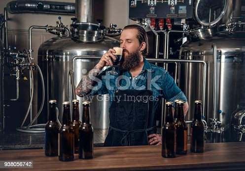 Portrait of tattooed, bearded hipster male manufacturer tasting beer in the microbrewery.