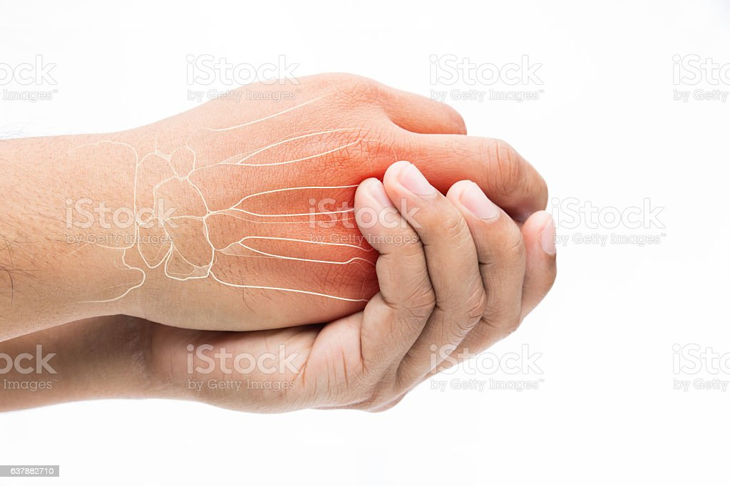 Man massaging painful wrist on a white background. Pain concept stock photo