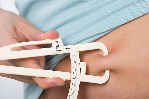 Man Measuring Stomach Fat stock photo