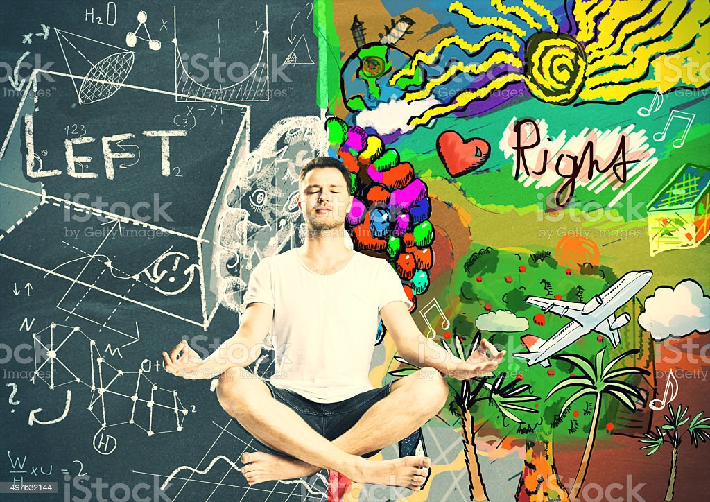Man meditation and thinking about left stock photo