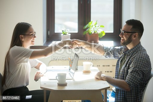 istock Man meets financial advisor for getting a new home loan. 857213462