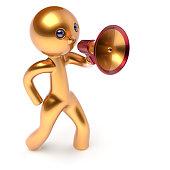 istock Man megaphone leader making news announcement person 493911640