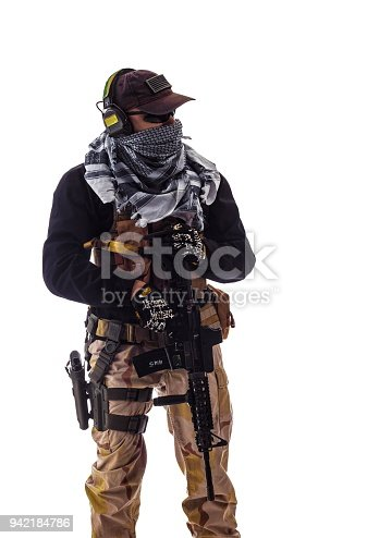 istock man military outfit a soldier in modern times on a white background in studio 942184786