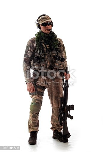 istock man military outfit a soldier in modern times on a white background in studio 942184826