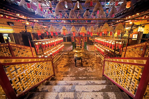 Man Mo Temple The Famous Taoist Temple In Hong Kong Stock Photo - Download Image Now