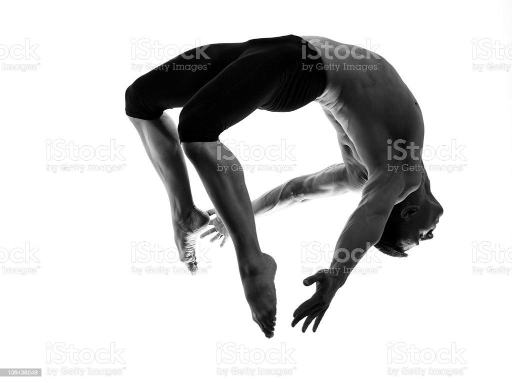 Man modern ballet dancer dancing gymnastic acrobatic jumping stock photo