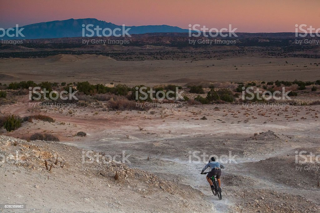 man mountain biking landscape stock photo