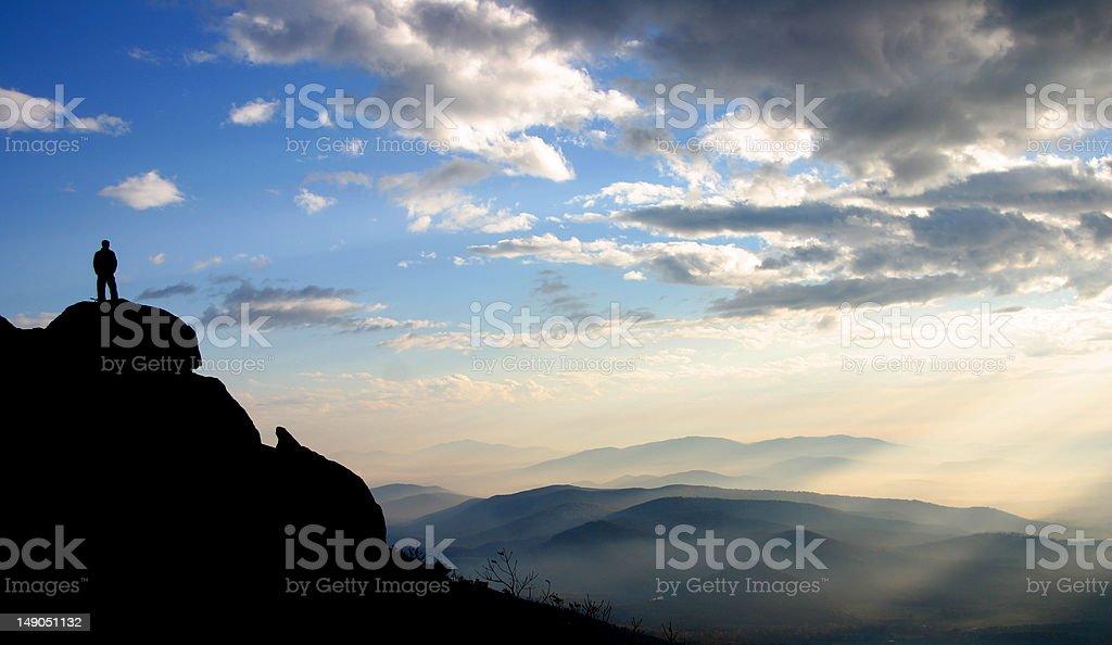 Man Mountain Top stock photo