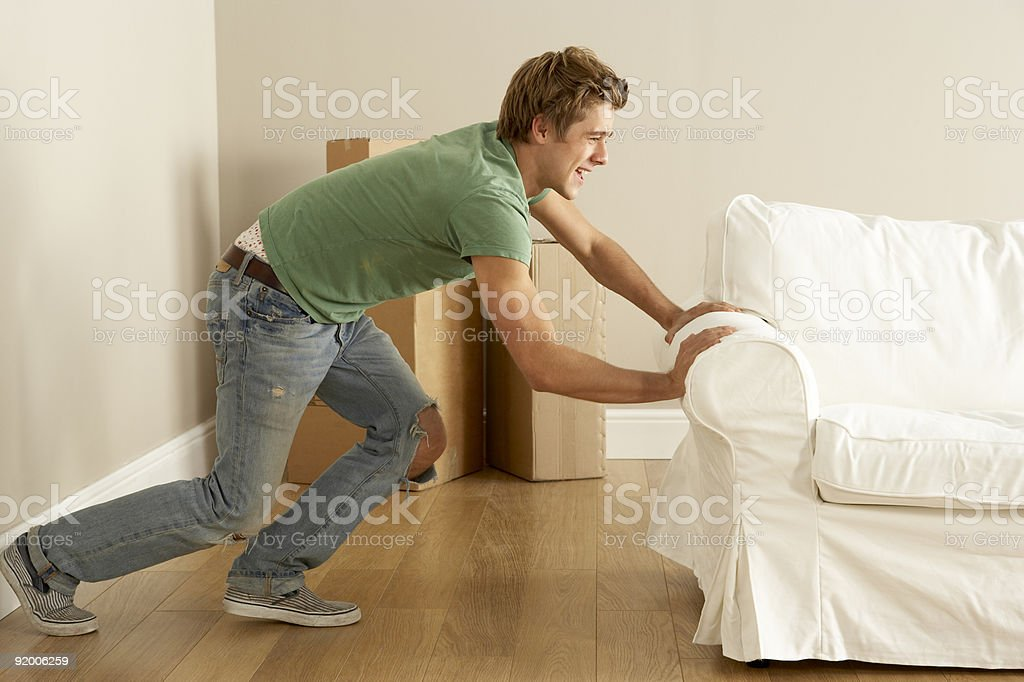 Man Moving Sofa  Adult Stock Photo